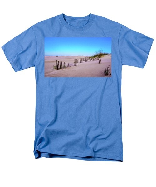 Men's T-Shirt  (Regular Fit) featuring the photograph Sand  Fences On The Bogue Banks by John Harding