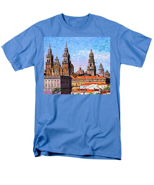 Men's T-Shirt  (Regular Fit) featuring the painting Santiago De Compostela, Cathedral, Spain by Jane Small