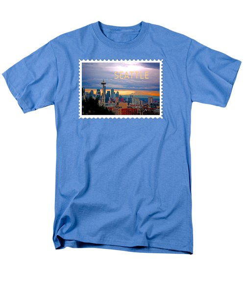 Seattle At Sunset Text Seattle Men's T-Shirt  (Regular Fit) by Elaine Plesser