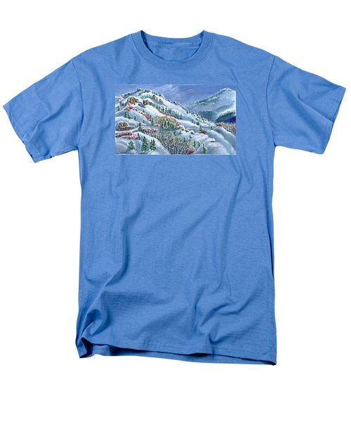 Men's T-Shirt  (Regular Fit) featuring the painting Snowy Mountain Road by Dawn Senior-Trask