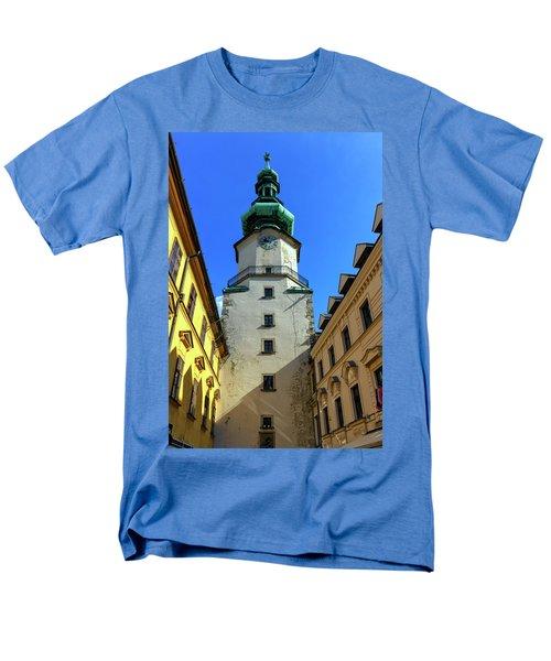 St Michael's Tower In The Old City, Bratislava, Slovakia, Europe Men's T-Shirt  (Regular Fit) by Elenarts - Elena Duvernay photo