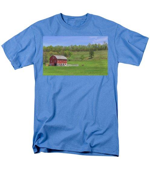 Men's T-Shirt  (Regular Fit) featuring the digital art Star And Moon Barn by Sharon Batdorf