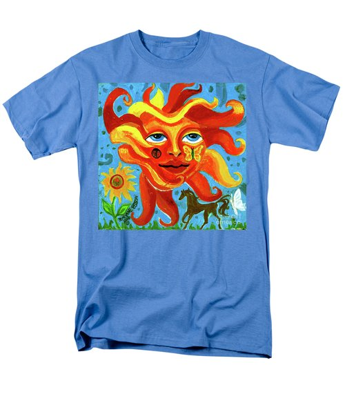 Men's T-Shirt  (Regular Fit) featuring the painting Sunface With Butterfly And Horse by Genevieve Esson