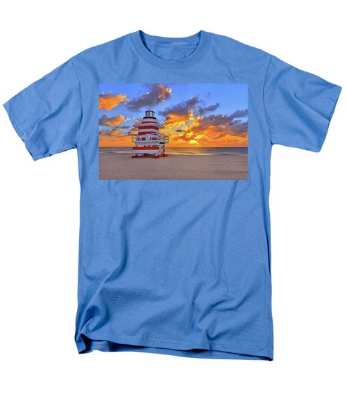 Sunrise Over Lifegaurd Stand On South Miami Beach  Men's T-Shirt  (Regular Fit) by Justin Kelefas