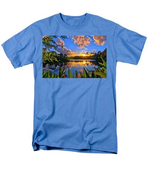 Sunset Over Hidden Lake In Jupiter Florida Men's T-Shirt  (Regular Fit) by Justin Kelefas