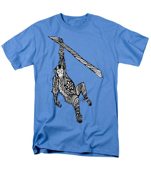 Swinging Chimpanzee Zentangle Men's T-Shirt  (Regular Fit) by Kylee S