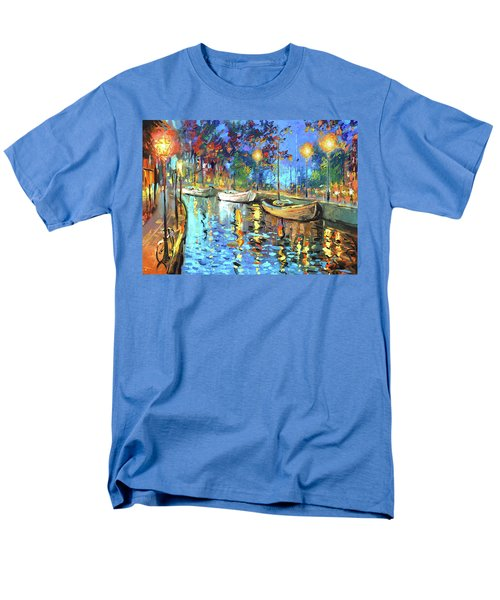 Men's T-Shirt  (Regular Fit) featuring the painting The Lights Of The Sleeping City by Dmitry Spiros