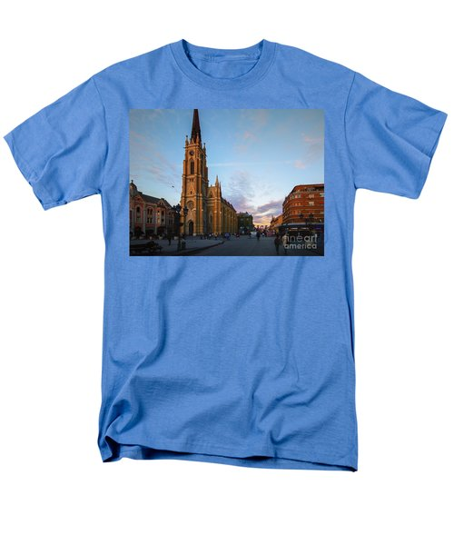 Men's T-Shirt  (Regular Fit) featuring the photograph The Name Of Mary Church At Dusk Novi Sad by Jivko Nakev