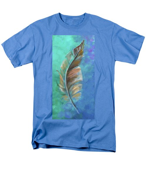 Men's T-Shirt  (Regular Fit) featuring the painting Three Feathers Triptych-center Panel by Agata Lindquist