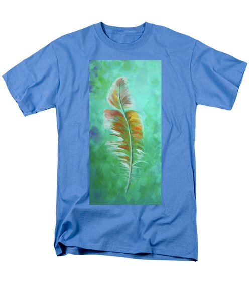 Men's T-Shirt  (Regular Fit) featuring the painting Three Feathers Triptych-left Panel by Agata Lindquist