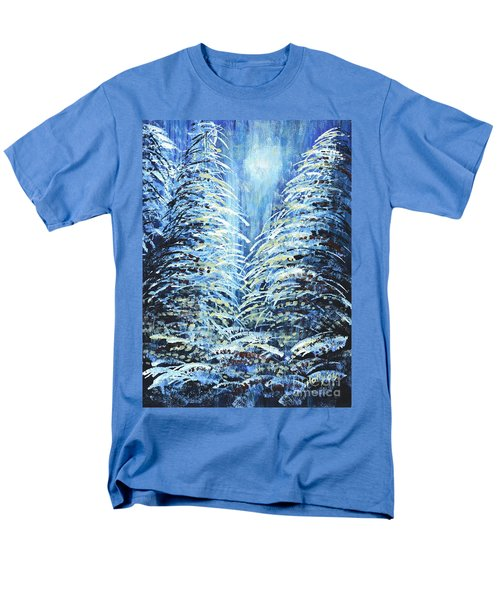 Men's T-Shirt  (Regular Fit) featuring the painting Tim's Winter Forest by Holly Carmichael