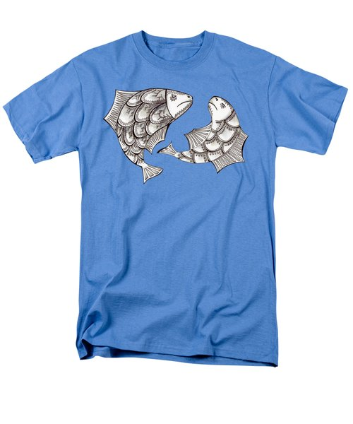 Two Ink Pen Graphic Hand Drawn Black And White Fish Men's T-Shirt  (Regular Fit) by Victoria Yurkova