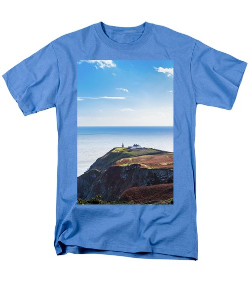 Men's T-Shirt  (Regular Fit) featuring the photograph View Of The Trails On Howth Cliffs With The Lighthouse In Irelan by Semmick Photo