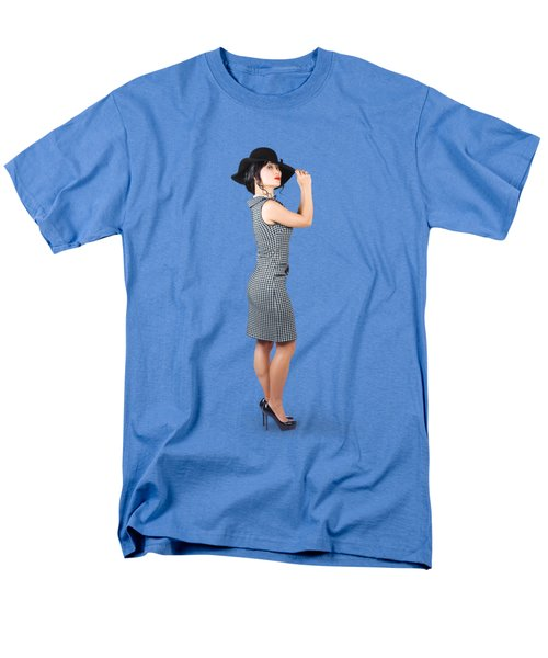 Men's T-Shirt  (Regular Fit) featuring the photograph Vintage Summer Clothes Woman. Full Length Portrait by Jorgo Photography - Wall Art Gallery