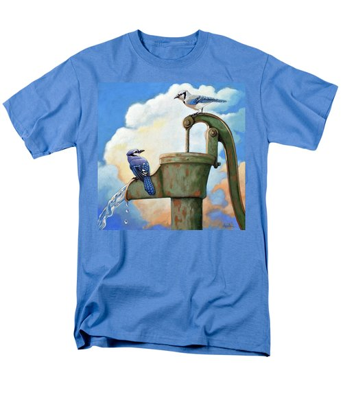 Men's T-Shirt  (Regular Fit) featuring the painting Water Is Life #3 -blue Jays On Water Pump Painting by Linda Apple