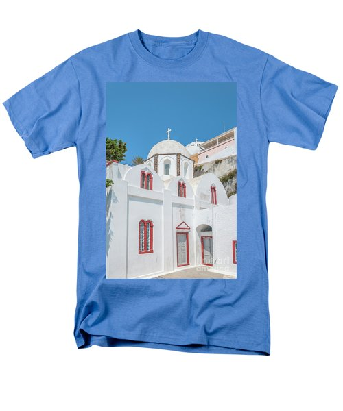 Men's T-Shirt  (Regular Fit) featuring the photograph White Church At Fira by Antony McAulay