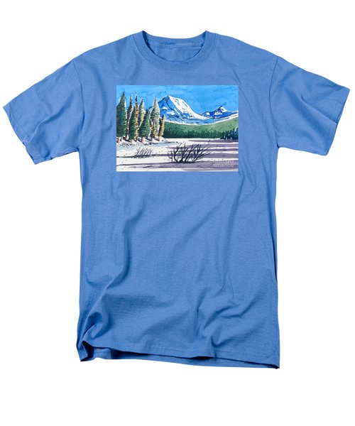 Men's T-Shirt  (Regular Fit) featuring the painting Winter At Mt. Lassen by Terry Banderas