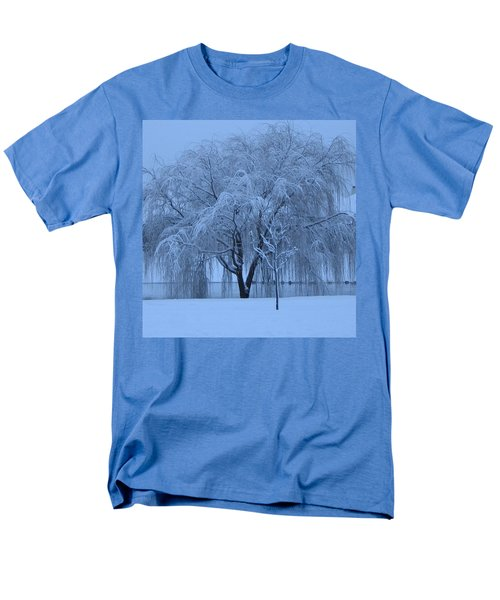 Winter Willow Tree Before Dawn_fort Worth_tx Men's T-Shirt  (Regular Fit) by Barbara Yearty