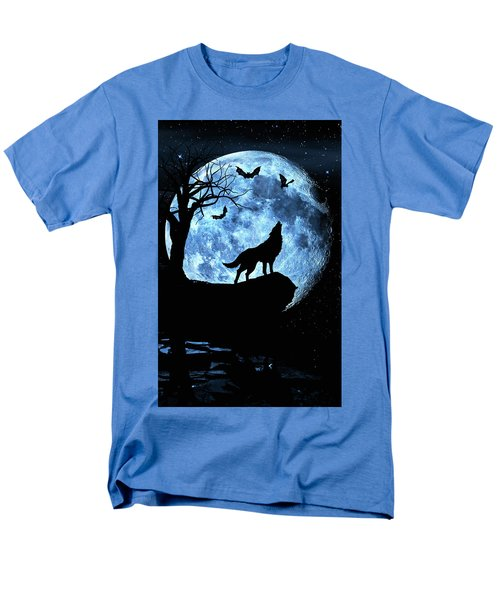 Men's T-Shirt  (Regular Fit) featuring the photograph Wolf Howling At Full Moon With Bats by Justin Kelefas