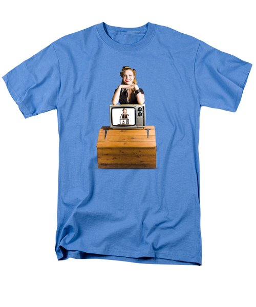 Woman  In Front Of Tv Camera Men's T-Shirt  (Regular Fit) by Jorgo Photography - Wall Art Gallery