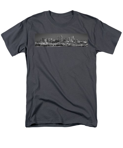 Men's T-Shirt  (Regular Fit) featuring the photograph  Denver Skyline At Dusk Black And White Bw Evening Extra Wide Panorama Broncos  by Jon Holiday