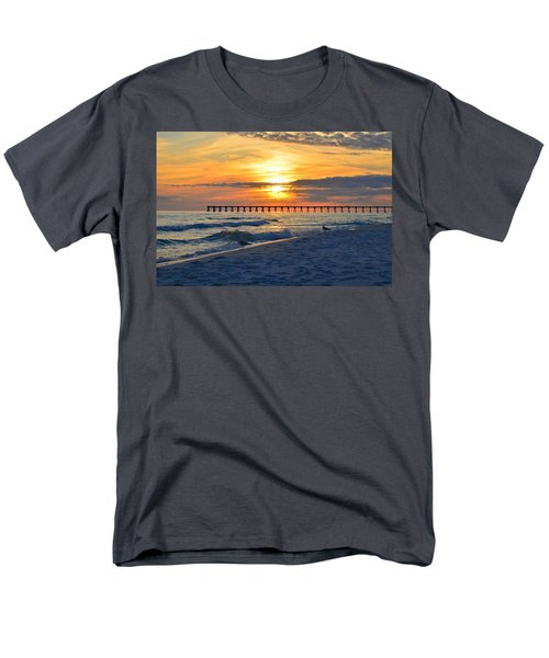 0108 Sunset Colors Over Navarre Pier On Navarre Beach With Gulls Men's T-Shirt  (Regular Fit) by Jeff at JSJ Photography