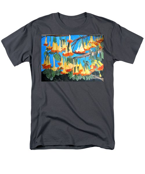 Men's T-Shirt  (Regular Fit) featuring the painting Angel Trumpets by Sandy McIntire