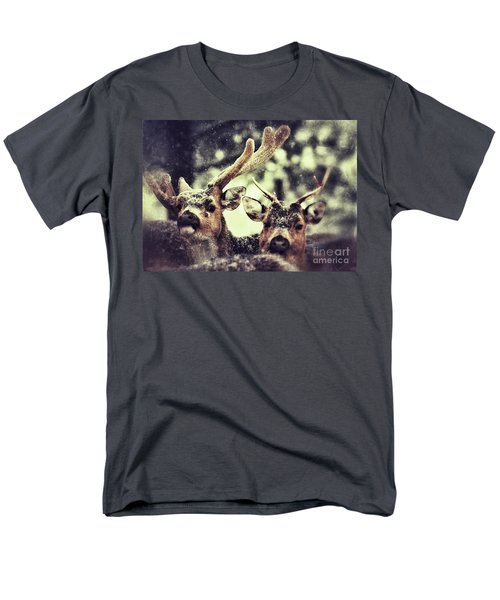 Men's T-Shirt  (Regular Fit) featuring the photograph Deer In The Snow by Nick  Biemans