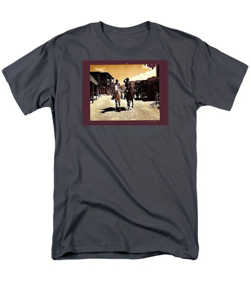 Film Homage Mark Slade Cameron Mitchell Riding Horses The High Chaparral Old Tucson Az C.1967-2013 Men's T-Shirt  (Regular Fit) by David Lee Guss