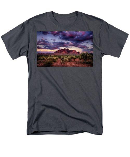 Sunset At The Superstitions  Men's T-Shirt  (Regular Fit) by Saija  Lehtonen