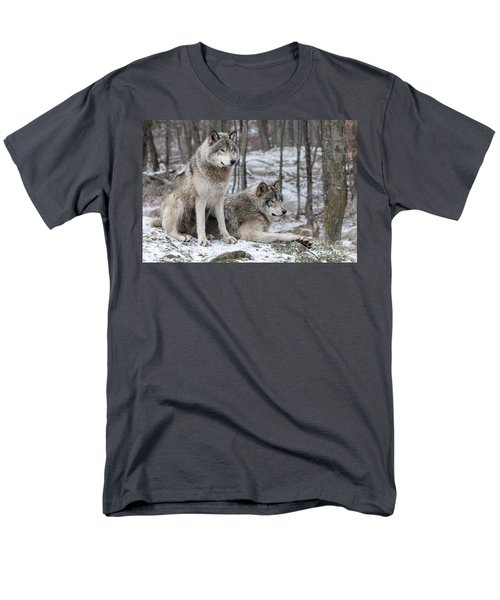 Timber Wolf Pair In Forest Men's T-Shirt  (Regular Fit) by Wolves Only