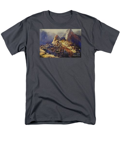 Watercolor Painting Machu Picchu Peru Men's T-Shirt  (Regular Fit)