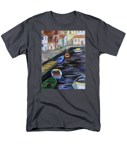 Men's T-Shirt  (Regular Fit) featuring the painting Boats In Front Of The Buildings IIi by Xueling Zou