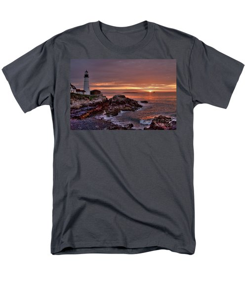 Men's T-Shirt  (Regular Fit) featuring the photograph Portland Head Lighthouse Sunrise by Alana Ranney