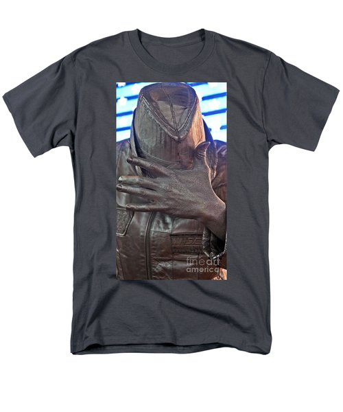 Men's T-Shirt  (Regular Fit) featuring the photograph Tin Man In Times Square by Lilliana Mendez