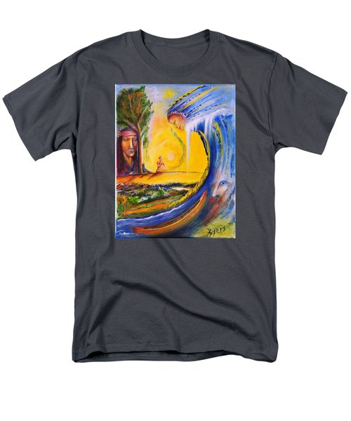 Men's T-Shirt  (Regular Fit) featuring the painting The Island Of Man by Kicking Bear  Productions