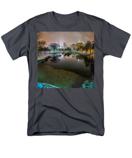 Charlotte Nc Skyline Covered In Snow In January 2014 Men's T-Shirt  (Regular Fit) by Alex Grichenko