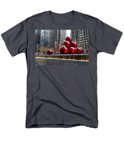 A Christmas Card From New York City - Radio City Music Hall And The Giant Red Balls Men's T-Shirt  (Regular Fit) by Georgia Mizuleva