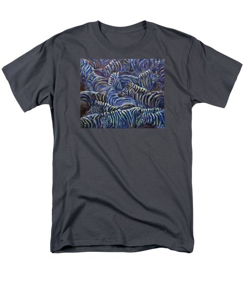 Men's T-Shirt  (Regular Fit) featuring the painting A Group Of Zebras by Xueling Zou