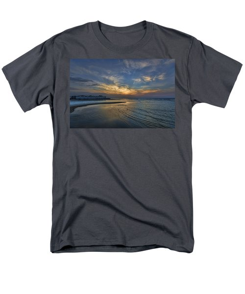 Men's T-Shirt  (Regular Fit) featuring the photograph a joyful sunset at Tel Aviv port by Ron Shoshani