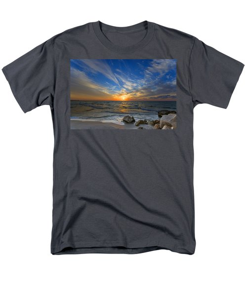 Men's T-Shirt  (Regular Fit) featuring the photograph A Majestic Sunset At The Port by Ron Shoshani