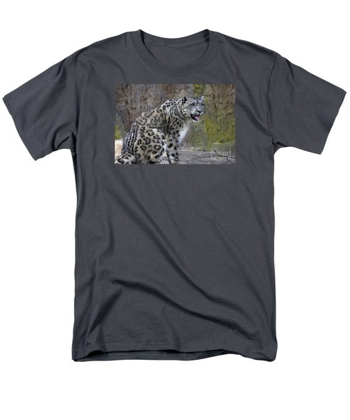 A Snow Leopards Tongue Men's T-Shirt  (Regular Fit) by David Millenheft
