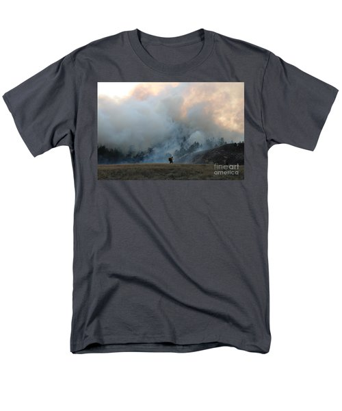 Men's T-Shirt  (Regular Fit) featuring the photograph A Solitary Firefighter On The White Draw Fire by Bill Gabbert