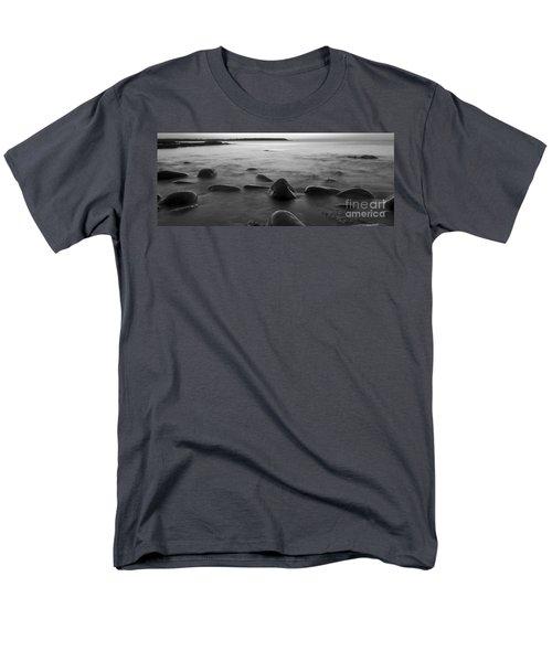 Acadia National Park Shoreline Sunrise Wakeup Black And White Men's T-Shirt  (Regular Fit) by Glenn Gordon