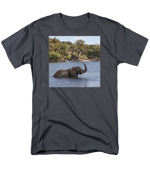 Men's T-Shirt  (Regular Fit) featuring the photograph African Elephant In Chobe River  by Liz Leyden