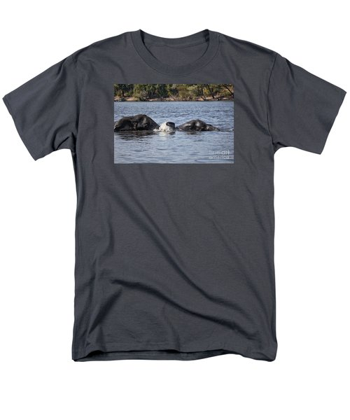 African Elephants Swimming In The Chobe River Botswana Men's T-Shirt  (Regular Fit) by Liz Leyden