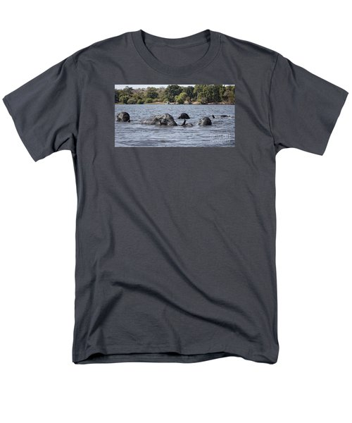 Men's T-Shirt  (Regular Fit) featuring the photograph African Elephants Swimming In The Chobe River by Liz Leyden