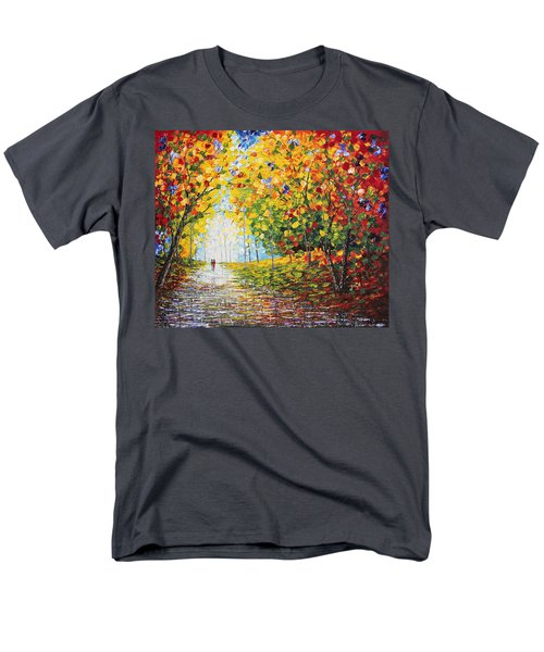 Men's T-Shirt  (Regular Fit) featuring the painting After Rain Autumn Reflections Acrylic Palette Knife Painting by Georgeta Blanaru