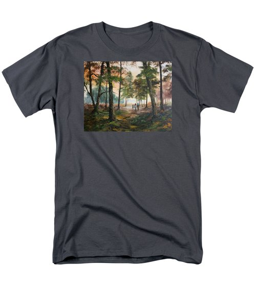 Men's T-Shirt  (Regular Fit) featuring the painting Afternoon Ride Through The Forest by Jean Walker
