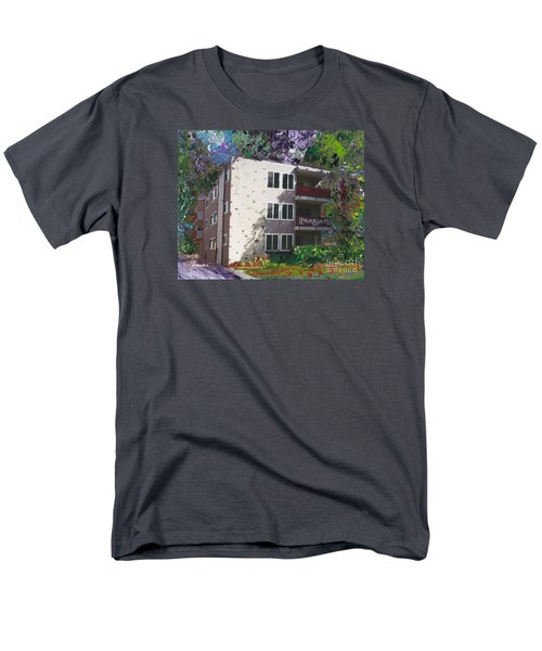 Men's T-Shirt  (Regular Fit) featuring the painting Alameda 1964 Apartment Architecture   by Linda Weinstock
